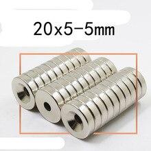 3 предметов в партии диаметр 20×5 мм отверстия 5 мм кольцо Круглый неодимовые магниты с отверстием 5 мм Новый 20*5 мм редкоземельных N35