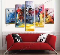 5 Panel Abstract Style The Music Festival Salon Hand Paints Canvas Oil Painting Dance Picture Cuadros Decoracion Unframed XY094