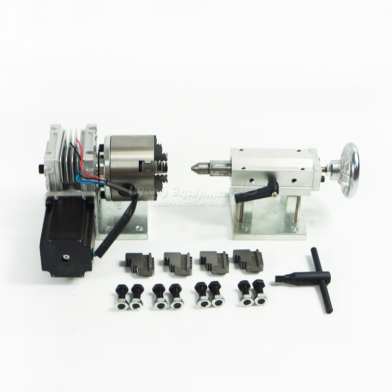 A axis three-jaw chuck Rotary Axis + CNC Tailstock For Our CNC router with limit switch cnc machine