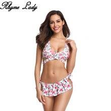 Rhyme Lady женский купальник с низкой талией для девочек пляжный сексуальный купальный костюм купальник с растительным узором пуш-ап женский в бразильском стиле для плавания костюм