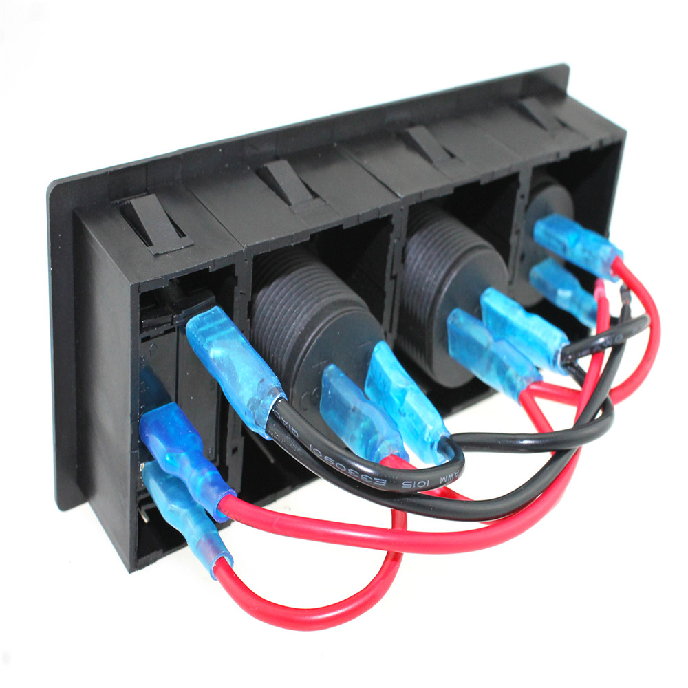 3 1 A USB port power Sockets DC 12V 24V led voltmeter three color can be choose blue led rocker switch with housing holder in Cables Adapters Sockets from Automobiles Motorcycles