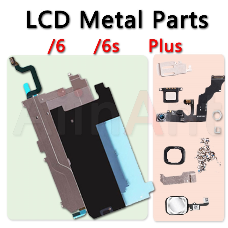 LCD Display Screen Metal Small Parts Protect Cover Ear Speaker Front Camera Home Button Flex For iPhone 6 6s Plus Repair image