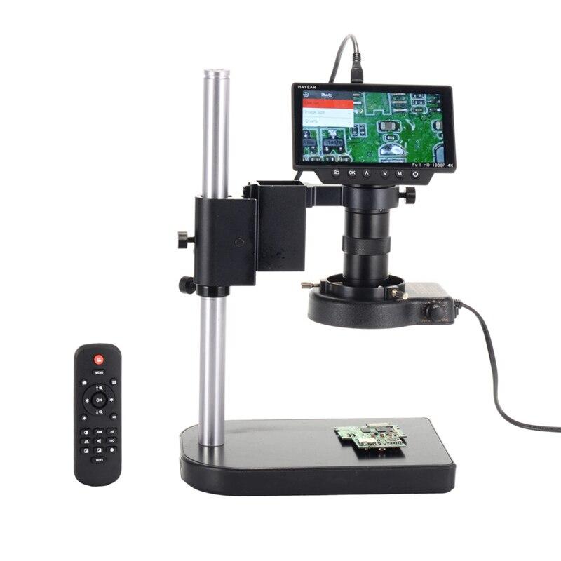 16MP 1080 P HDMI USB WI FI цифровой микроскоп промышленности Камера с 100X C mount объектив 40 светодиодный свет 5 дюймов Экран для осмотр печатной платы