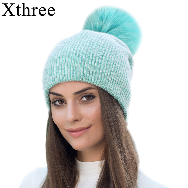 Xthree New Simple Winter Rabbit Fur Beanie Hat With Real Fur Pom Pom Hat For Women Colourful Skullies Warm Female Cap