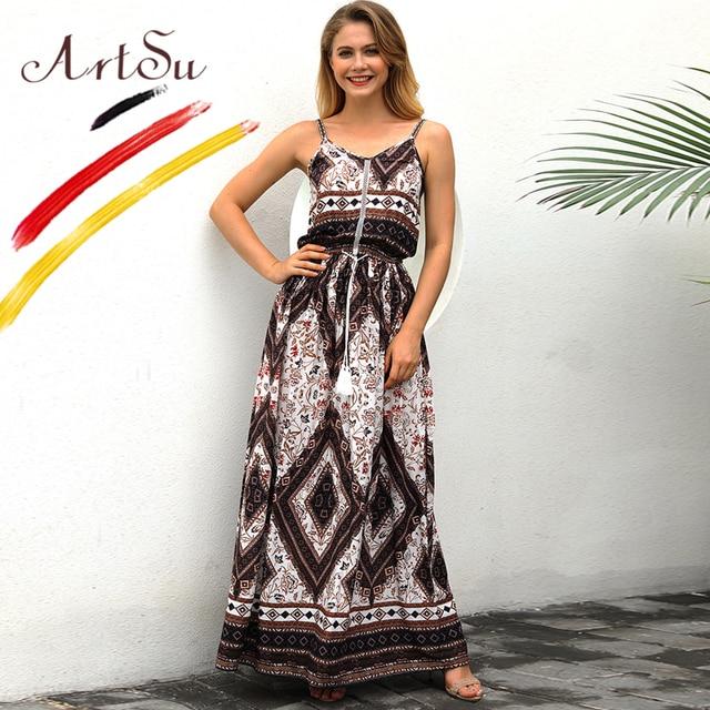 de3969565859 ArtSu Vintage Bohemia Vacation Maxi Dress Women V-Neck Floral Print  Sleeveless Beach Dress Summer Drawstring Waist Long Vestidos