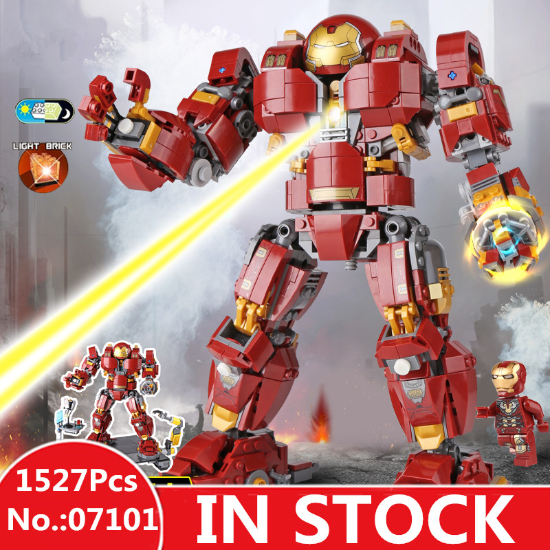 IN STOCK H&HXY 07101 1527Pcs Super Genuine Hero Iron Man Anti Hulk Mech Toy LEPIN Building Bricks Blocks Model Compatible 76105 цена