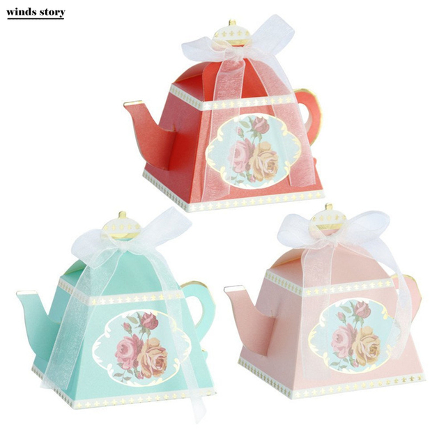10pcs candy boxes tea party favors wedding gifts for guests bridal shower birthday party candy box