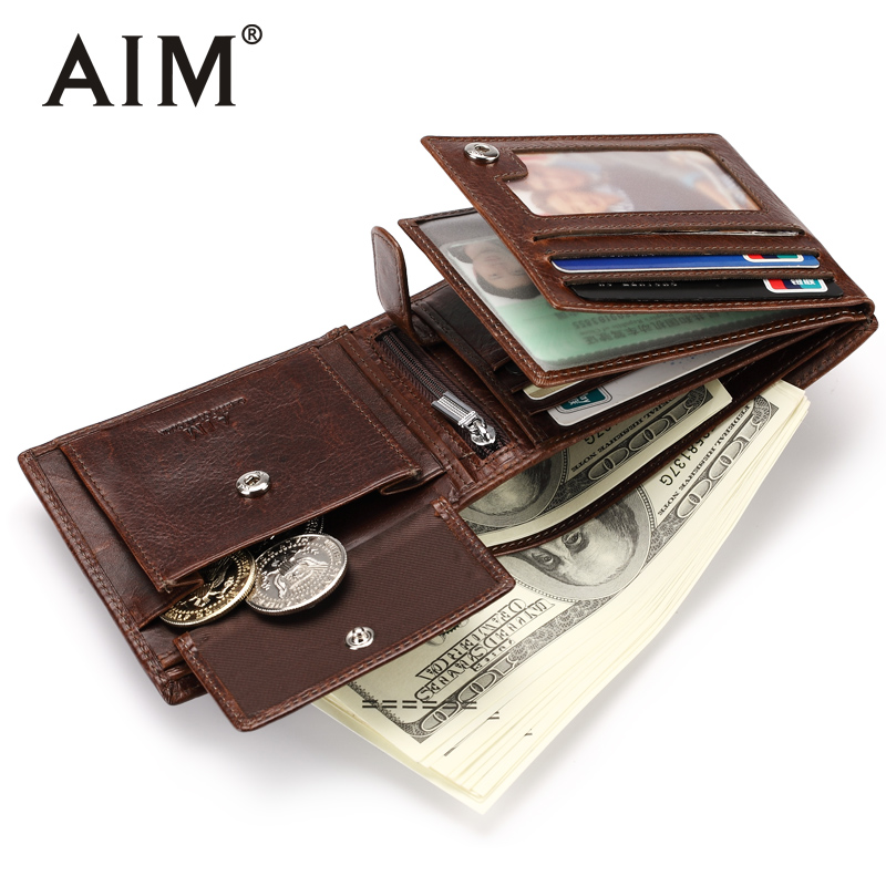 AIM NEW Genuine Leather Small Men Wallets Luxury Brand Cow Leather Wallet With Card Holder High Quality Purse For Men SMT001 aim men short wallets 100% genuine cow leather wallet men famous brand knitting design card holder men s biford coin purse a293