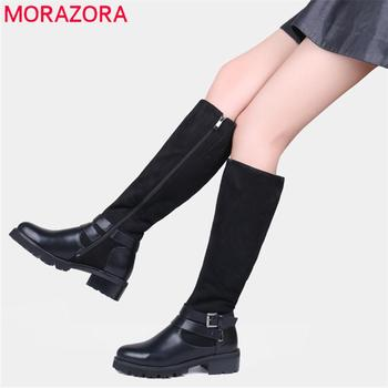 MORAZORA Russia womens motorcycle boots black Stretch Fabric knee high boots women winter shoes female booties drop shipping