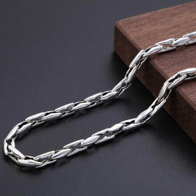 Fait à la main 100% 925 argent collier Thai argent homme collier Vintage chaîne Sterling collier homme bijoux cadeau