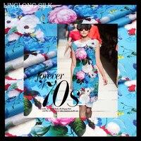 PRINT SILK ORGANZA SATIN FABRIC 14m/m Width 53 135cm100% Silk Fabric Organza Party Dress Fabric Blue Peony Floral Pattern Print