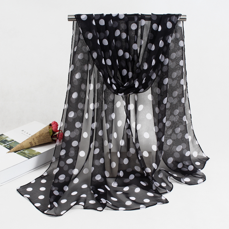 New Arrival 2019 Spring And Autumn Chiffon Georgette Women Scarf Polyester Dot Pattern Design Long Soft Silk Shawl FZ056