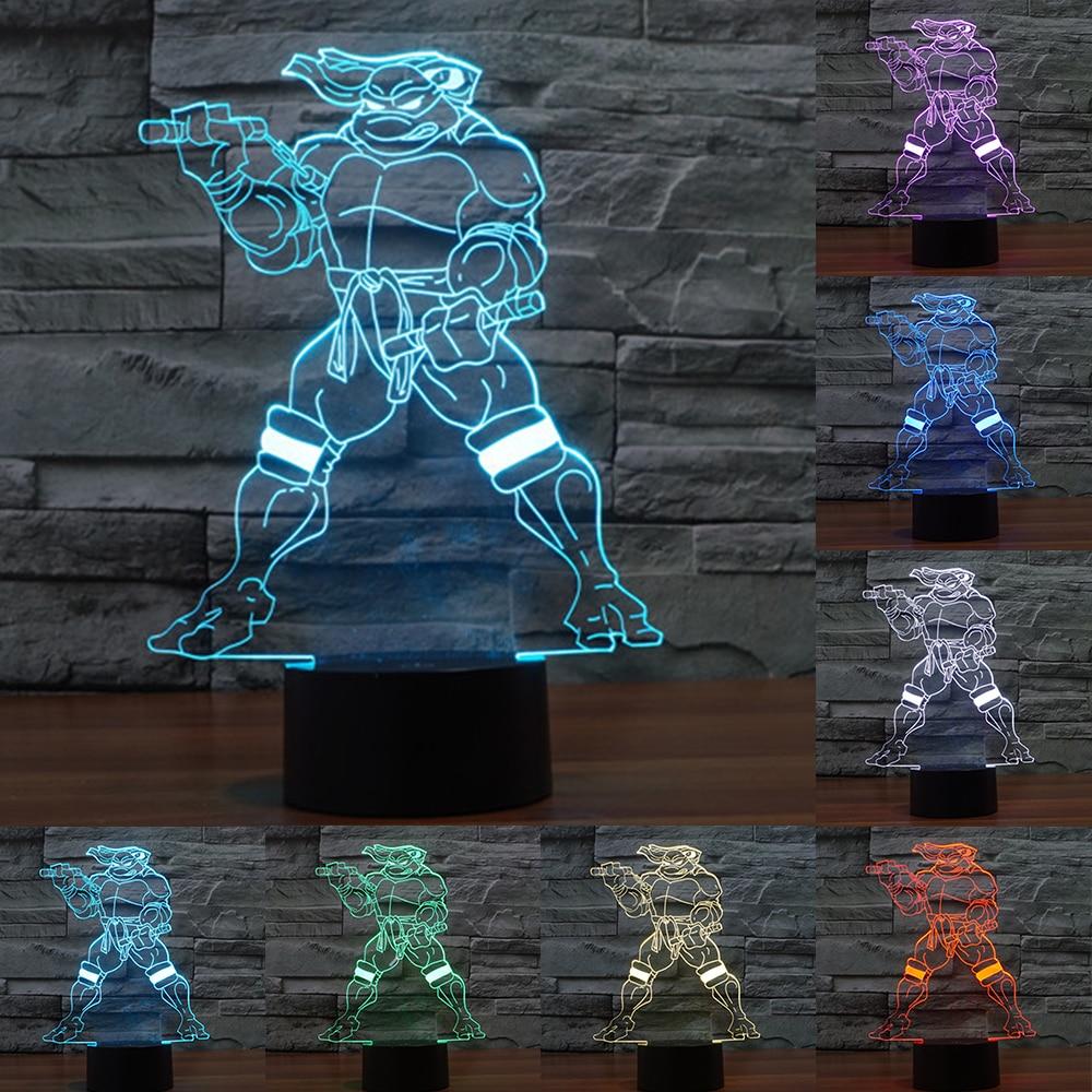 7 color Creative Teenage Mutant Ninja Turtles Acrylic 3D Lamp Nightlights USB touch lamp Kid Room