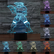 7 color Creative Teenage Mutant Ninja Turtles Acrylic 3D Lamp Nightlights USB touch lamp Kid Room Cartoon Deco Light IY803443