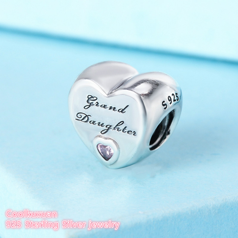 e04428031 2018 Autumn Original 925 Sterling Silver Granddaughter's Love Charm, Pink  CZ heart Beads Fit Pandora Charms Bracelet Diy Jewelry-in Beads from Jewelry  ...