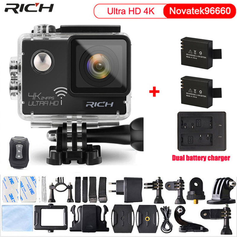 Original Sport Camera NT96660 4K 24fps ULTRA HD 16MP WiFi 30M Waterproof Action camera Extra 2pcs battery+Dual battery charger action camera h3r h3 ultra hd 4k 1080p 170d wide angle dual screen sports camera 2pcs battery dual charger