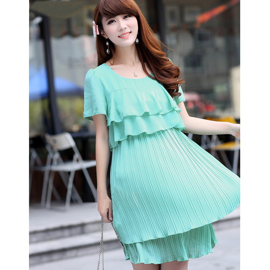 Summer Chiffon Pleated Maternity Dresses Boat Neck Party Clothes ...