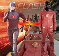 Movie The Flash 2014 Barry Allen Artificial Leather Jacket Belt Pants Cosplay Costume Outfit For Adult Men Male Halloween Cloth
