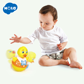 HUILE TOYS 967 Baby Toys Roly-Poly Tumbler Toy with Music & Flashing Lights Nodding Doll Duck Sheep Novelty Educational Toys 1