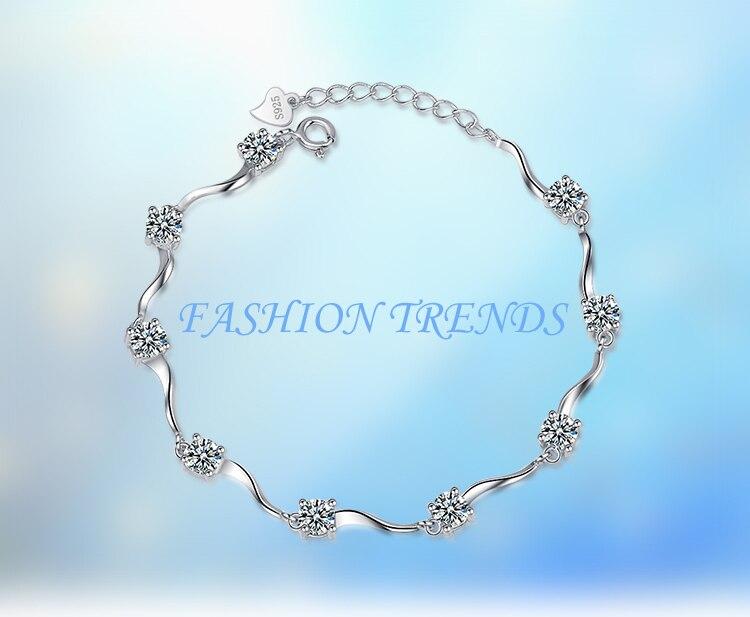 CAB021 925 silver bracelet For Wedding  Cubic Zircon Stone Pendant bracelet For Women GiftCAB021 925 silver bracelet For Wedding  Cubic Zircon Stone Pendant bracelet For Women Gift