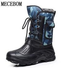 Hommes chaussures chaudes et imperméables cheville bottes hommes de pluie en caoutchouc bottes coton à l'intérieur hommes lace-up bottes grande taille 41-46 e-1