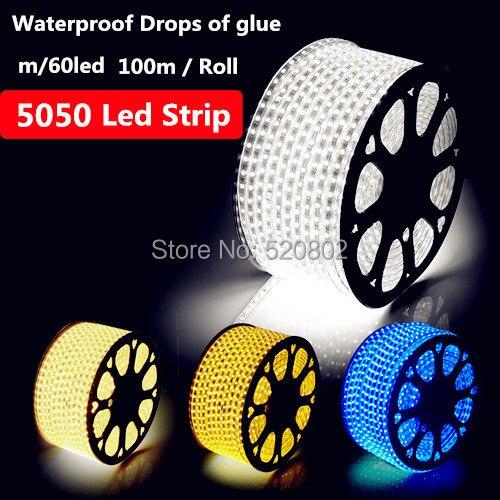 Gratuit Shipping100M 3 points puces 220V-240V5050 LED Bande Imperméable Flexible LED Bande + plug 60 LED s/m LED Éclairage de bonne qualité