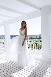Image 4 - Clássico a line estilo applique floresce v decote sheer corpete vestido de noiva perfeito para dança praia vestido de noiva