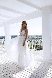 Image 4 - Classic A Line Style Applique Flourishes V Neckline Sheer Bodice Bridal Dress Perfect For Dancing Beach Bridal Dress