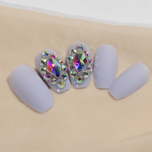 Light Blue Ballerina False Nails Brown Color Ab Crystal Matte Full Nail Coffin Fake 24pcs