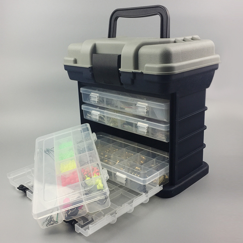 Portable Thick Plastic Fishing Tackle Box Seat Multi-Layer 4 Transparent Sub-Boxes for Fish Alarm Fly Carp Fishing Accessories