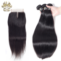 Brazilian Straight Hair 3 Bundles With Closure Nature Color King Hair Lace Closure Remy Hair Weave