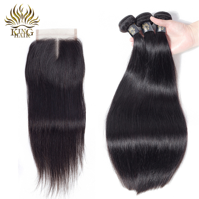King Hair Brazilian Straight Hair 3 Bundles With Closure Nature Color 100% Remy Hair Weave With Lace 4pcs Part Human Hair