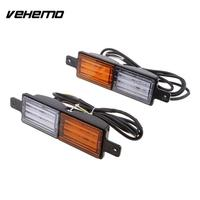 VEHEMO 2Pcs Double Color Wing Replacement Truck Rear Lamps Tail Lights Stop Indicator Warning Lights Car