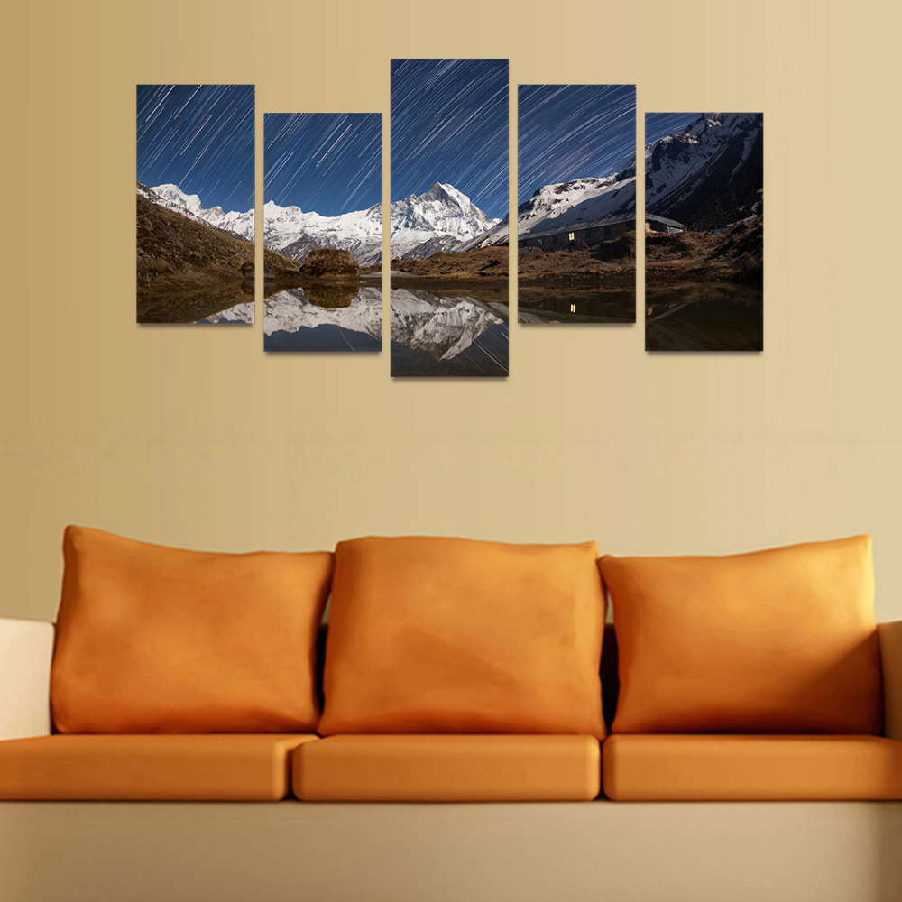 5 Panels Canvas Print Snow Peak And Meteor Shower Painting On Canvas ...