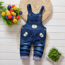 DIIMUU Newborn Baby Boy Girls Overalls Toddler Clothing Jeans Pants Cartoon Casual Holiday Party Trousers Print Suspender