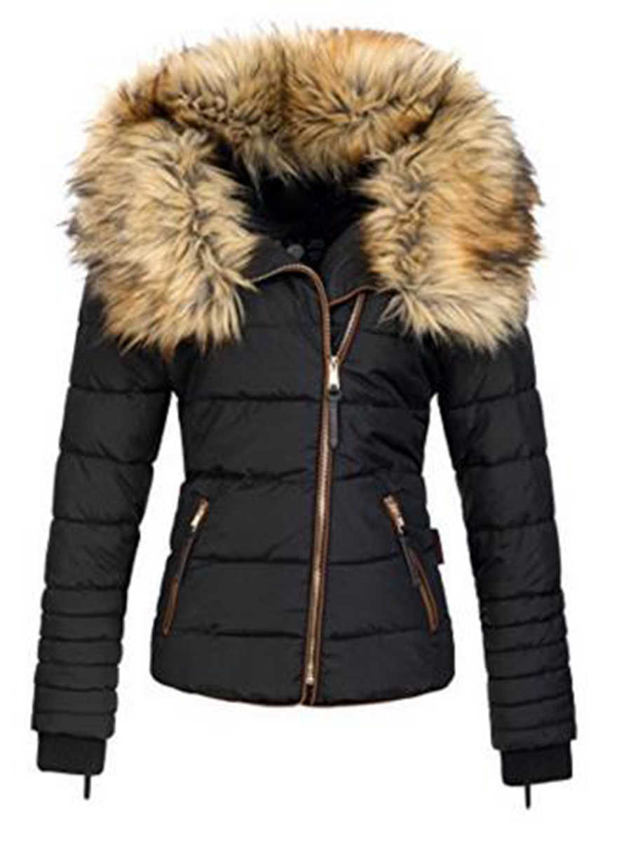 2019 New Parkas Female Women Winter Coat Thickening Cotton Winter Jacket Womens black faux fur Outwear Parkas for Women Winter