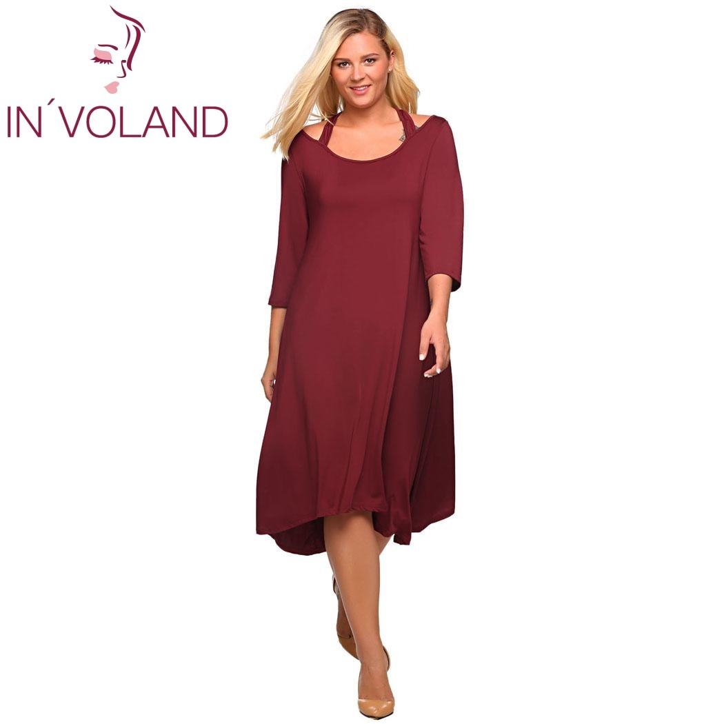 IN VOLAND Plus Size Women s Pencil Dress XL 4XL Square Collar Solid ... 834e5ff6793a