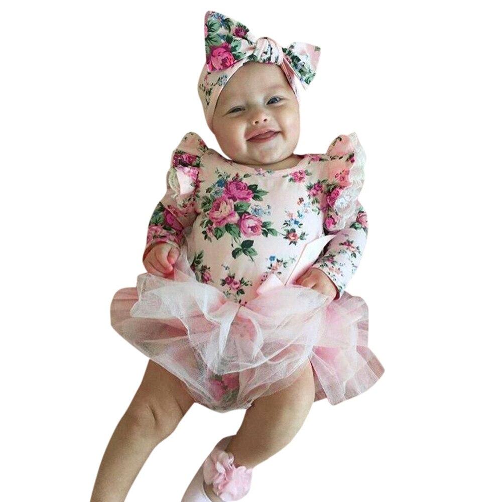 MUQGEW Baby Bodysuits Baby Girls Floral Lace Princess Tutu Dress Tops Clothes + Headband 2PC Baby Sunsuit Body Menina Q06