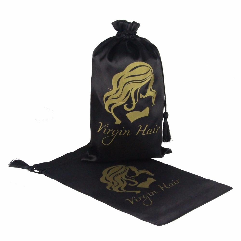 5ks černá Virgin vlasy balení taška se šňůrkou, prodlužování vlasů svazky saténové tašky s střapcem