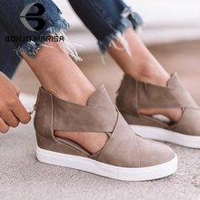 BONJOMARISA New INS Hot Casual Retro Flat Platform Shoes Woman 2019 Autumn Large Size 35-43  Women Breathable