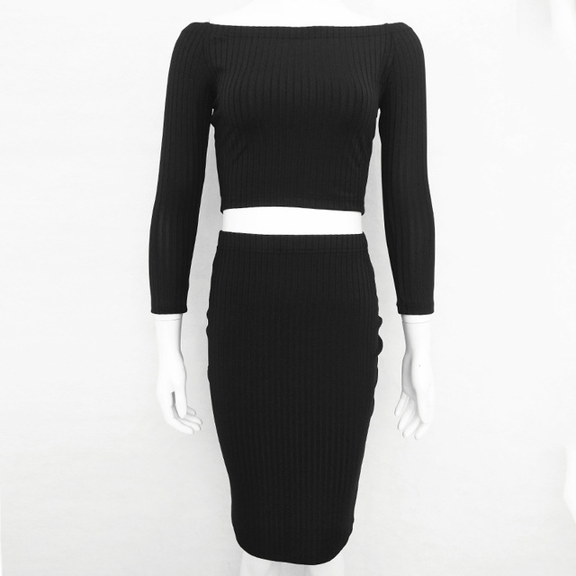 Women Off The Shoulder Long Sleeve Casual Tops Slash Neck Solid Colors Knitted Bodycon Sheath Skirt Two Piece Set Sweater Set