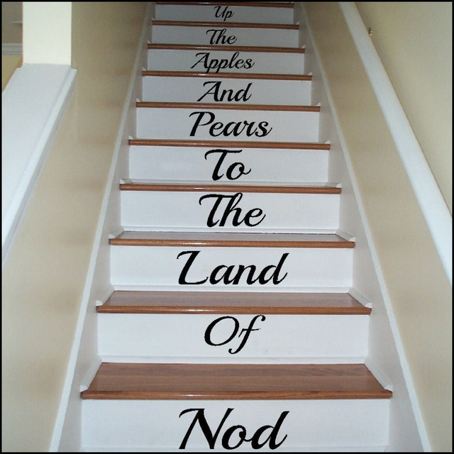 LARGE STAIRS UP THE APPLE AND PEARS TO LAND OF NOD WALL STICKER ...