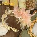 Роскошный Кристалл Тиара Шампанское Шелковый Цветок Лента Для волос Уникальный Hairwear Свадебные Фотографии Аксессуары Для Волос SG263