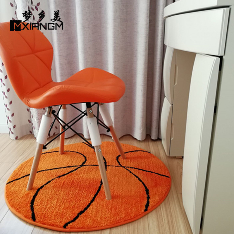 3D Polyester Anti Slip Ball Round Fluffy Carpet Computer Chair Pad Football Basketball Living Room Mat Children Bedroom Rugs