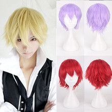 SALE Unisex Fashion Multi Color Short Straight Hair Wig Anime Party Cosplay Full sell Wigs 35cm High Temperature Fiber Gift