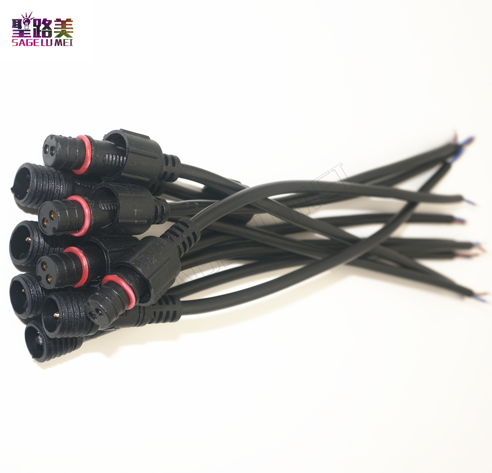 Free shipping 5/10/20/50 pairs Male to Female 2pin 3pin <font><b>4pin</b></font> 5pin led Connector Waterproof IP68 BLACK <font><b>Cable</b></font> for LED Strips Light image