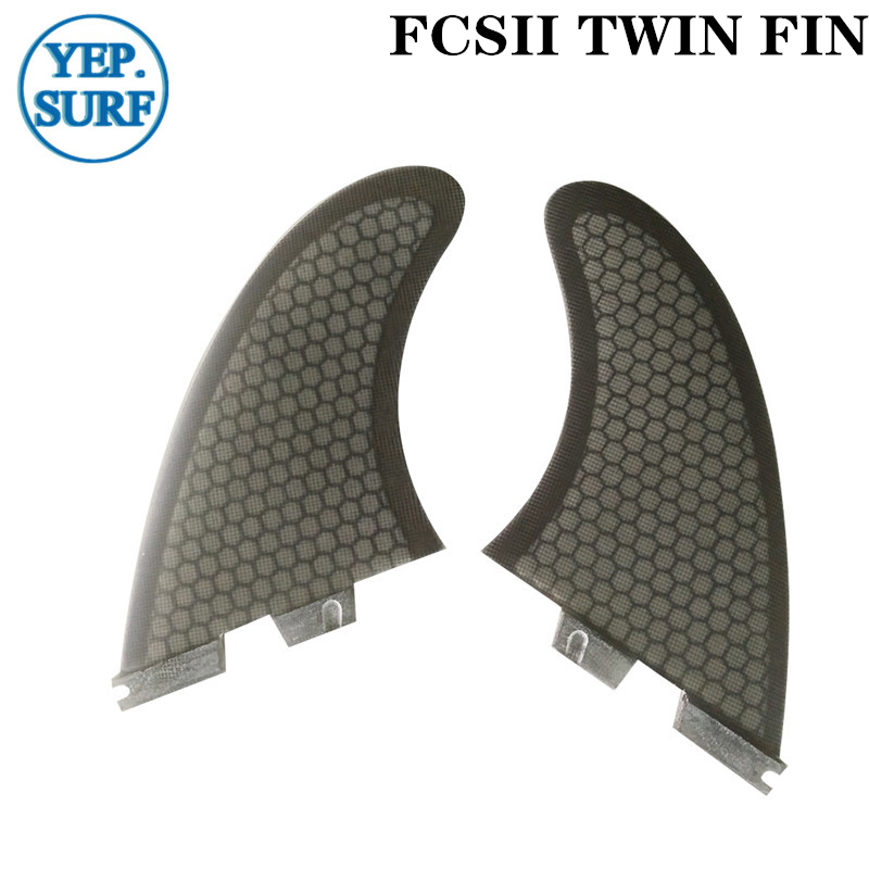 FCSII TWIN FIN Surfboard Fins TWIN FIN Black Color Quillas Surf Fins