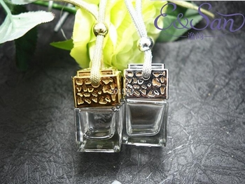 Free sHIPPING 6MLSilver and Gold Refillable Square Bottle with A Cover Car Ornaments Perfume Bottle Glass Empty Bottle 100PCS/LO