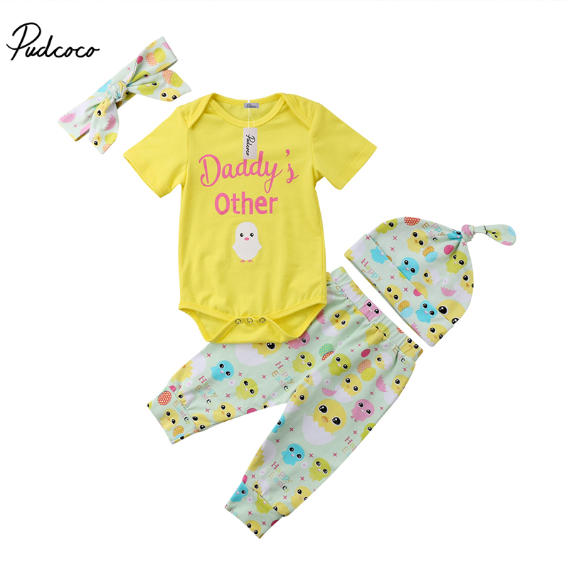 pudcoco Newborn Baby Boy Girl clothes daddy's other chick print cotton Playsuit bodysuit+Pants baby girls Outfit Clothing