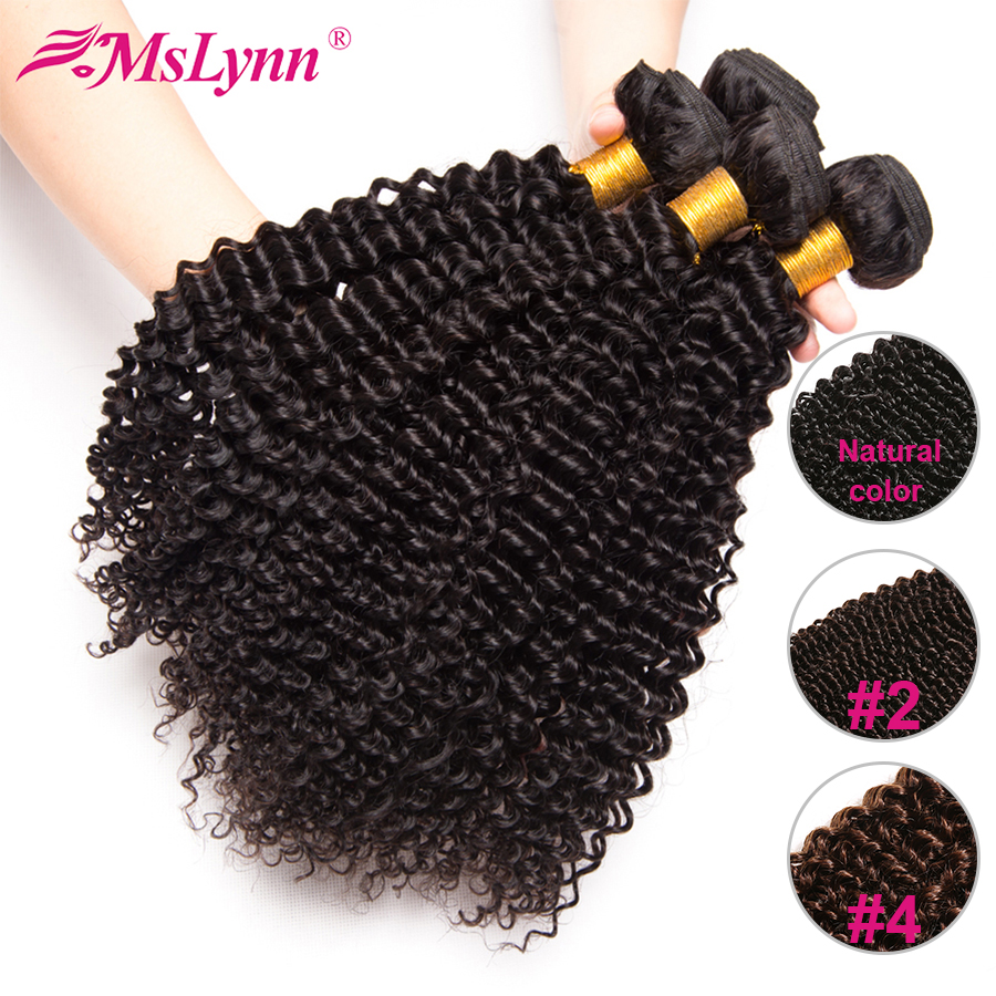 Afro Kinky Curly Hair Bundles Peruvian Hair Bundles 100% Human Hair Weave Bundles Mslynn Non Remy Hair Extensions 1/3 Bundles